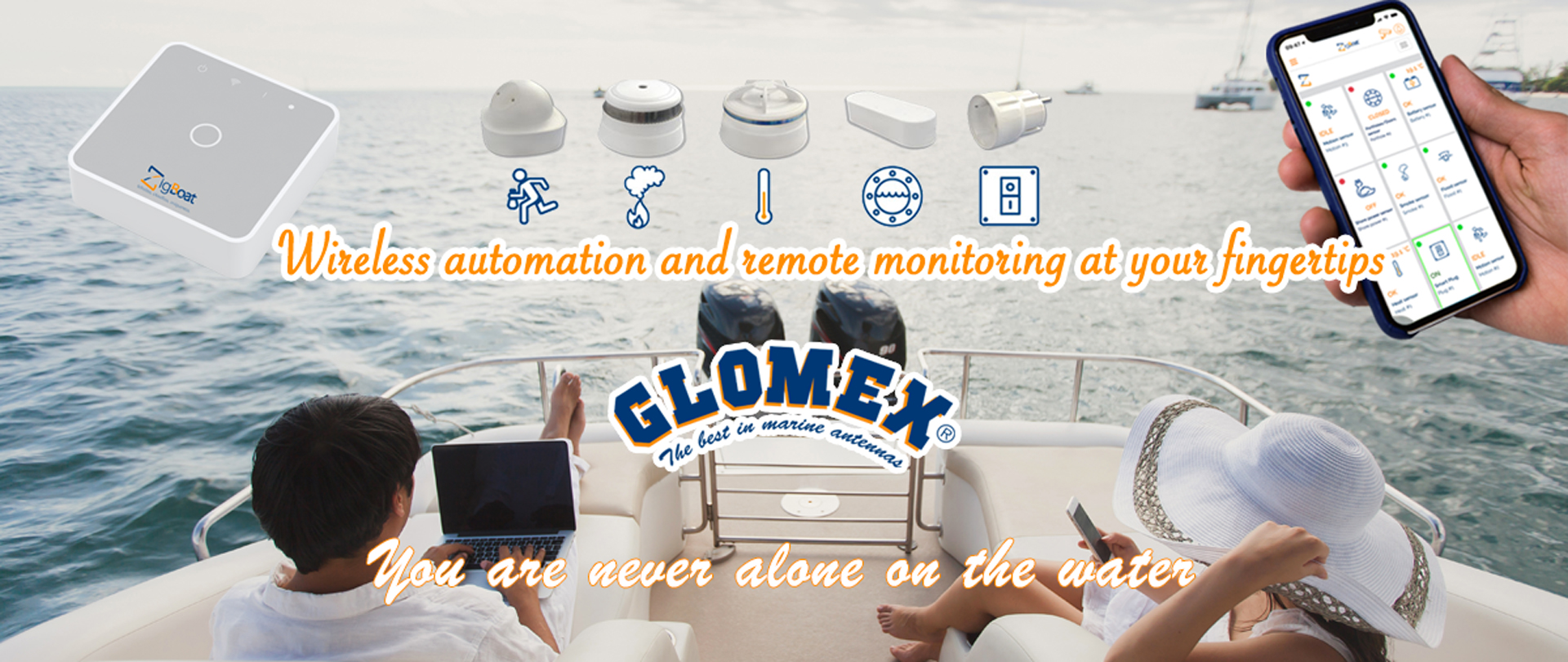 ZigBoat™ - Glomex Marine Antennas - Wireless Automation and monitoring on your fingertips