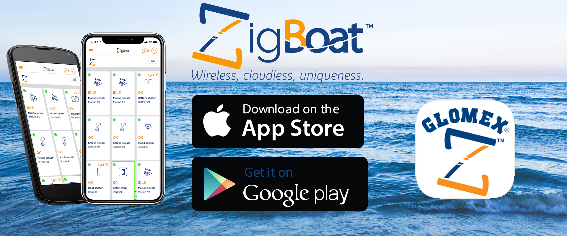 Glomex ZigBoat - Téléchargez l'application ZigBoat maintenant